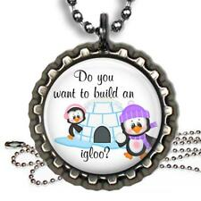 Do You Want to Build An Igloo Bottle Cap Necklace Handcrafted Penguin Winter Fun