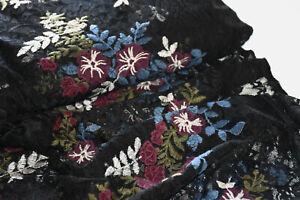 """Stoff Elastische Spitze """"Katharina"""" schwarz bordeaux weiß blau Blumen geblümt"""
