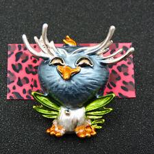 Wings Owl Woman Charm Brooch Pin New Betsey Johnson Blue Enamel Cute Stretch