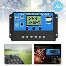 LCD 30A Solar Charger Controller PWM Dual USB Charge Regulator Panel 12/24V