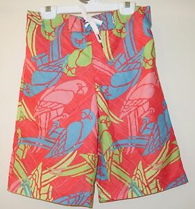 Brand New Red Camel Colorful Parrots Board Shorts Bathing Suit Large 16-18