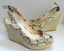 Coach Maritza sz 10 B Python Leather Espadrille Platform Wedge Slingback Sandals