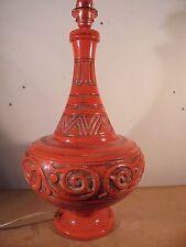 Céramique Vintage 50 Important Pied Lampe Balustre Décor tribal Signé ITALY