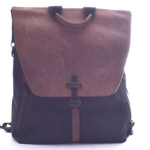 WATERFIELD Staad Large Backpack Black Canvas Brown Leather Backpack