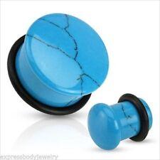 1 PAIR Blue Turquoise Organic Stone Domed Single Flare Ear Plugs Gauges