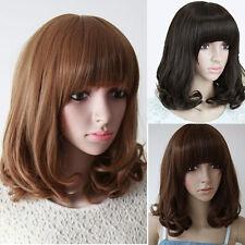 Womens Girls Natural Medium Long Full Hair Wig Curly Black Brown Bob Cosplay Wig