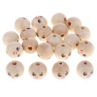 20pcs perles de visage de sourire en bois naturel brillant boule ronde
