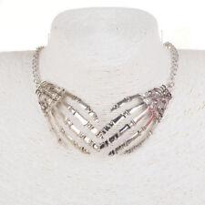 Novelty Skeleton Hand Pendent Link Statement Collar Necklace Antique Silver