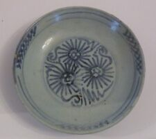 HZZ13 ANTIQUE CHINESE MING PORCELAIN SHALLOW BOWL, flower motif