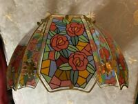 Vintage Modern Glass Lamp Shade W/ Floral Panels Table Lamp Floor Lamp Swag Lamp