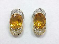 Citrine & Diamond Pave Designer Signed DM Earrings 18k Yellow Gold 750 FMGE