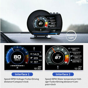 Car HUD Head Up Display OBD2+GPS System Speed Water&Oil Temp RPM Security Alarm