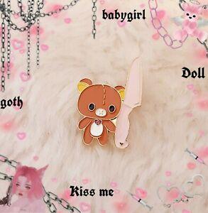 Cute Pastel Teddy Bear Pin New Kawaii Emo Goth Harajuku Punk Martinez