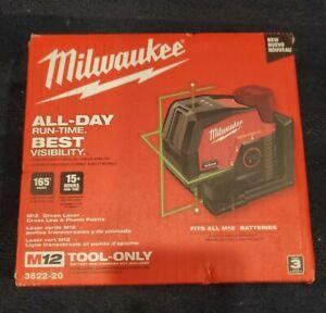 Milwaukee 3622-20 M12 Green Laser Cross Line & Plumb Point New Tool Only NIB