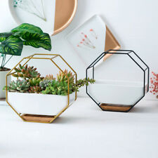 HD_ Octagon Wall Hanging Succulent Plant Flower Pot Table Ceramic Dish Vase Swee