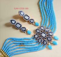 Latest South Indian Sky Blue Choker Necklace Earring Set Bollywood Pakistani Jwl