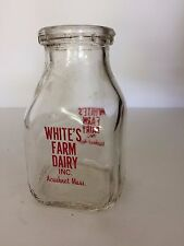 Vintage Half Pint Milk Bottle - White's Dairy Farm, Acushnet, Mass.