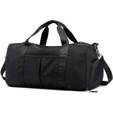 Sport Gym Bag Large Travel Duffel Bag with Shoe Compartment Wet Pocket, Black