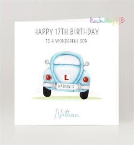 Personalised 17th Birthday Card, Son/Grandson/Nephew/Godson, Car/Driving Theme
