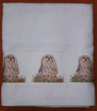 LHASA APSO DOG LARGE HAND/GUEST TOWEL WATERCOLOUR PRINT SANDRA COEN ARTIST