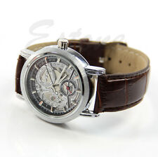Men Mechanical Automatic Skeleton Date Synthetic Leather Classic New Wrist Watch