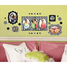ZEBRA PRINT PHOTO PICTURE FRAMES wall sticker 52 decals black polka dots circles