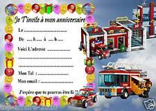 5 cartes invitation anniversaire  Lego pompier 03   d'autres en vente !!