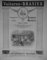 PUBLICITÉ DE PRESSE 1907 VOITURES BRASIER GAGNANTES DE LA COUPE GORDON BENNETT