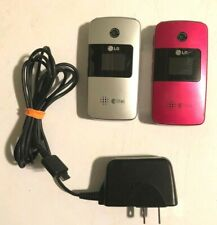 Lg Ax275 Lot of 2 Cellular Flip Phones (1) Pink, (1) Silver - Both Work - Alltel