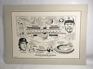 "Atlanta Braves "" ATLANTA STADIUM "" Historical Lithograph Print 22"" x 17"""
