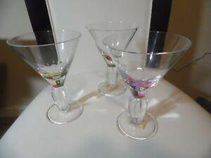 "Set of 3 Meritt  Diamond Martini Glasses Plastic 7"" tall Taiwan Hand Wash"
