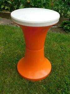 Vintage JUDGE Retro Orange & White Plastic Tam Tam Stool ~  60s 70s