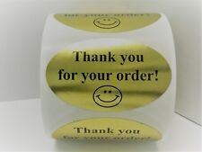 "Labels and More 1.25"" x 2"" Oval THANK YOU FOR YOUR ORDER / 500 Blk-GOLD Stickers"