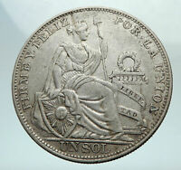 1924 PERU South America 1 SOL Antique BIG Original Silver Peruvian Coin i80319
