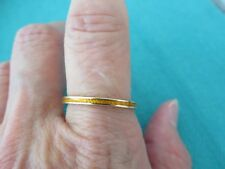 14K SOLID GOLD YELLOW ENAMEL 2 MM STACK BAND RING SZ 9