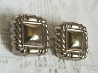 Vintage 80s Square Silver Tone Square Statement Clip On Earrings
