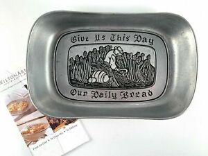 WILTON ARMETAL PEWTER GIVE US THIS DAY OUR DAILY BREAD L TRAY 601009 NIB BOX NEW