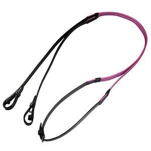 Audenham Black English Bridle Leather and Neon Pink Reflective Gripper Reins