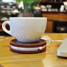 Mustard USB Cup Mug Warmer Coaster - Dark Brown Hot Cookie