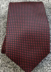 """Mens Double Two black red dotted smart polyester classic tie 3"""" wide 58"""" long"""