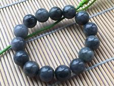 Certified natural 100%Rare Smoke gray natural A jade beads13m elasticity Bracele