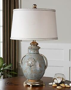 AGED EMBOSSED CERAMIC CANCELLO TABLE LAMP VINTAGE FRENCH VASE INSPIRED 26483