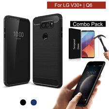 LG V30/V30+ / Q6 Case Cover,Shockproof Hybrid Slim Brushed Carbon Fiber Silicon
