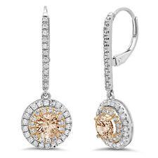 2.52 Round Halo Champagne Diamond Simulant Drop Dangle Earrings 14k 2 tone Gold
