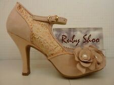 Ruby SHOO Antonia Rose Gold Pink Ladies Boda Tribunal Zapatos Tacón Abrochado Correa