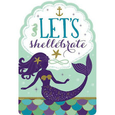 MERMAID WISHES INVITATIONS (8) ~ Birthday Party Supplies Stationery Cards Notes