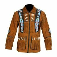 Men Tan Brown Suede Western Cowboy Leather Jacket With Fringe & Beaded