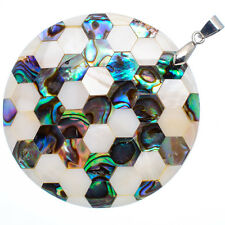 "Mother of Pearl Natural Abalone Sea Shell Round Pendant 2"" Jewelry #30-Z"