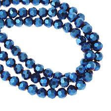 Kristallglas Perlen Rund Dunkelblau AB Farbe Facettiert 98 Stk. 2 Stränge
