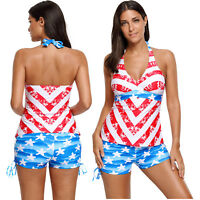 d7647a5b31 Patriot american flag pattern halter tankini swimsuit women summer/beach  sexy